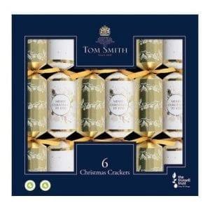 Tom Smith 6 Gold & White Christmas Crackers